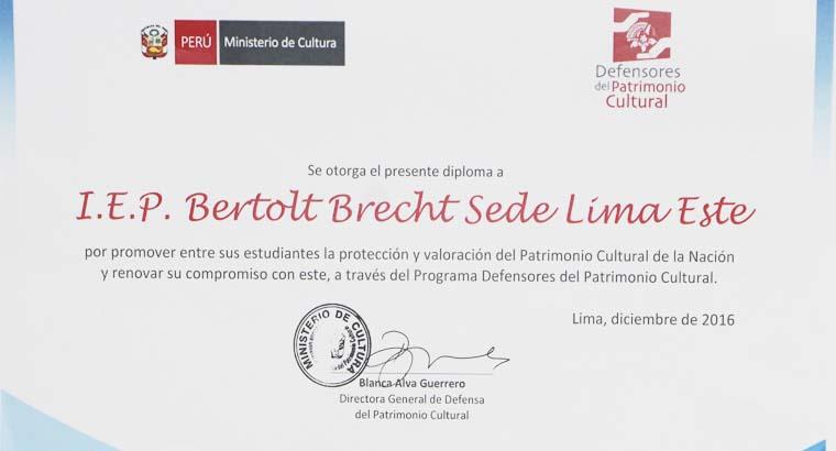 Reconocimiento 2016 a los Defensores del Patrimonio Cultural por el Ministerio de Cultura