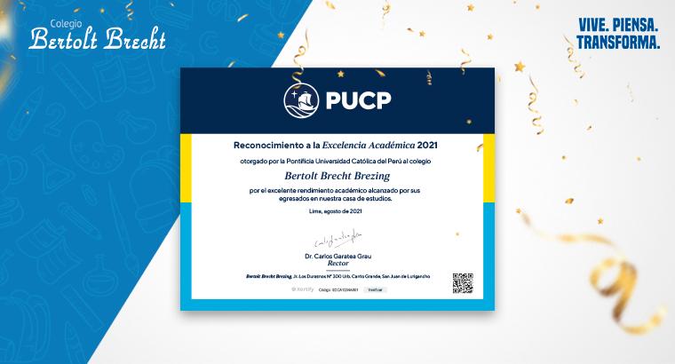 Reconocimiento a la Excelencia Académica 2021 otorgado por la PUCP